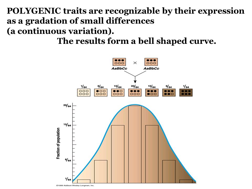 POLYGENIC traits are recognizable by their expression as a gradation of small differences (a continuous variation).
