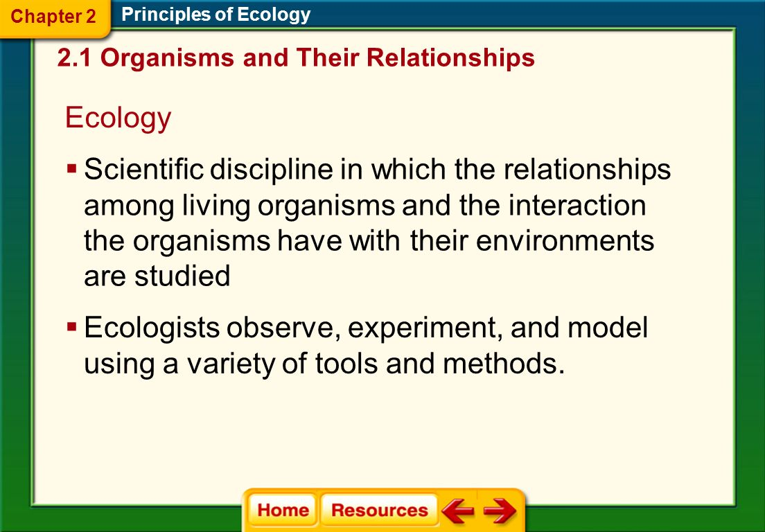 Chapter 2 Principles of Ecology. 2.1 Organisms and Their Relationships. Ecology.