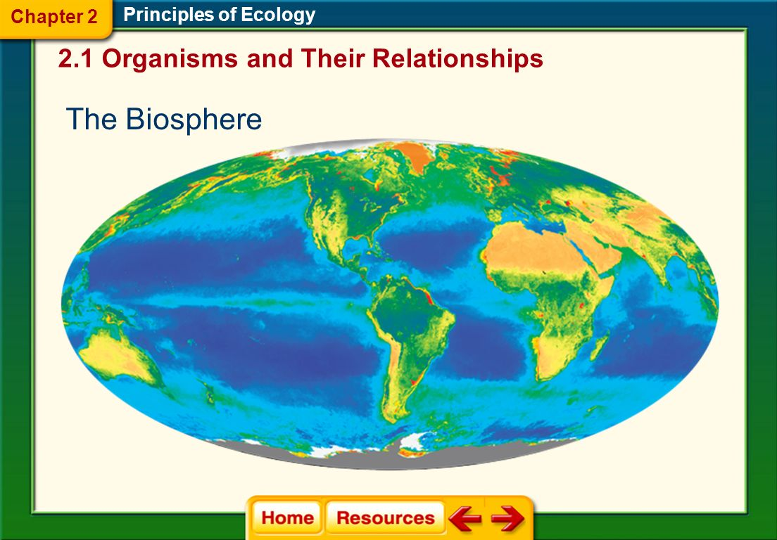 The Biosphere 2.1 Organisms and Their Relationships Chapter 2