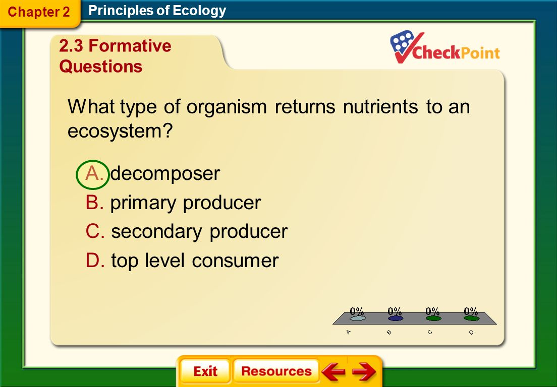 What type of organism returns nutrients to an ecosystem
