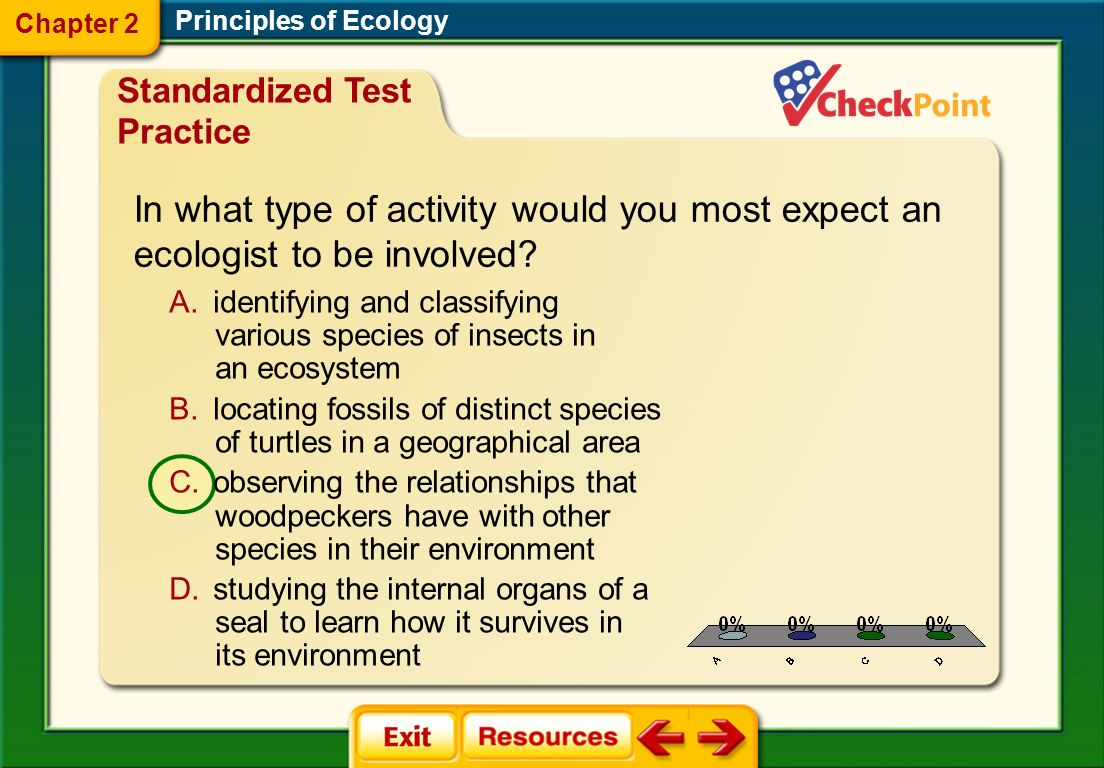 Chapter 2 Principles of Ecology. Standardized Test Practice. In what type of activity would you most expect an ecologist to be involved