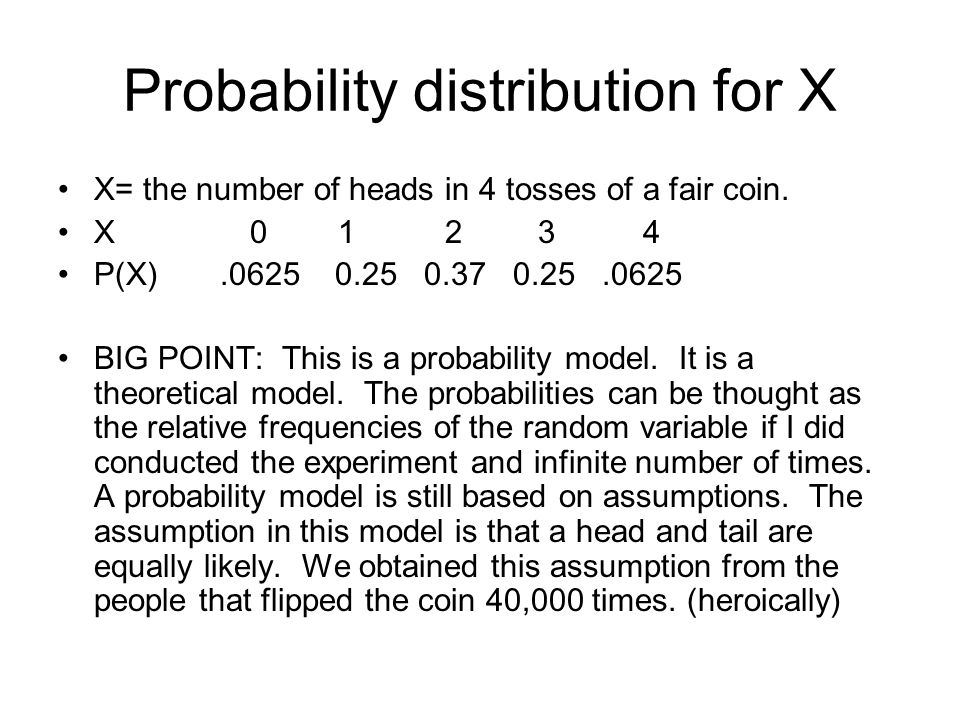 Probability distribution for X