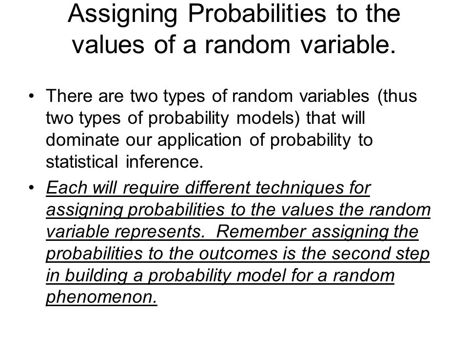Assigning Probabilities to the values of a random variable.