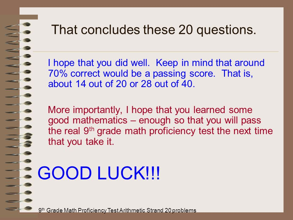 That concludes these 20 questions.