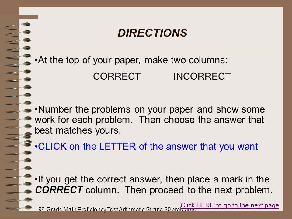 9th Grade Math Proficiency Test Arithmetic Strand 20 problems
