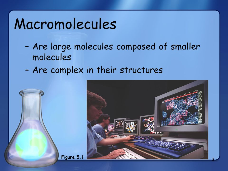 Macromolecules Are large molecules composed of smaller molecules