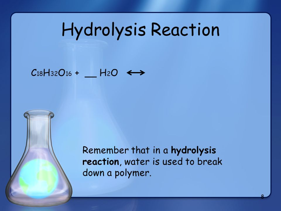 Hydrolysis Reaction C18H32O16 + __ H2O