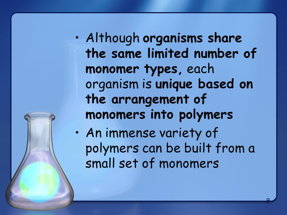 Although organisms share the same limited number of monomer types, each organism is unique based on the arrangement of monomers into polymers