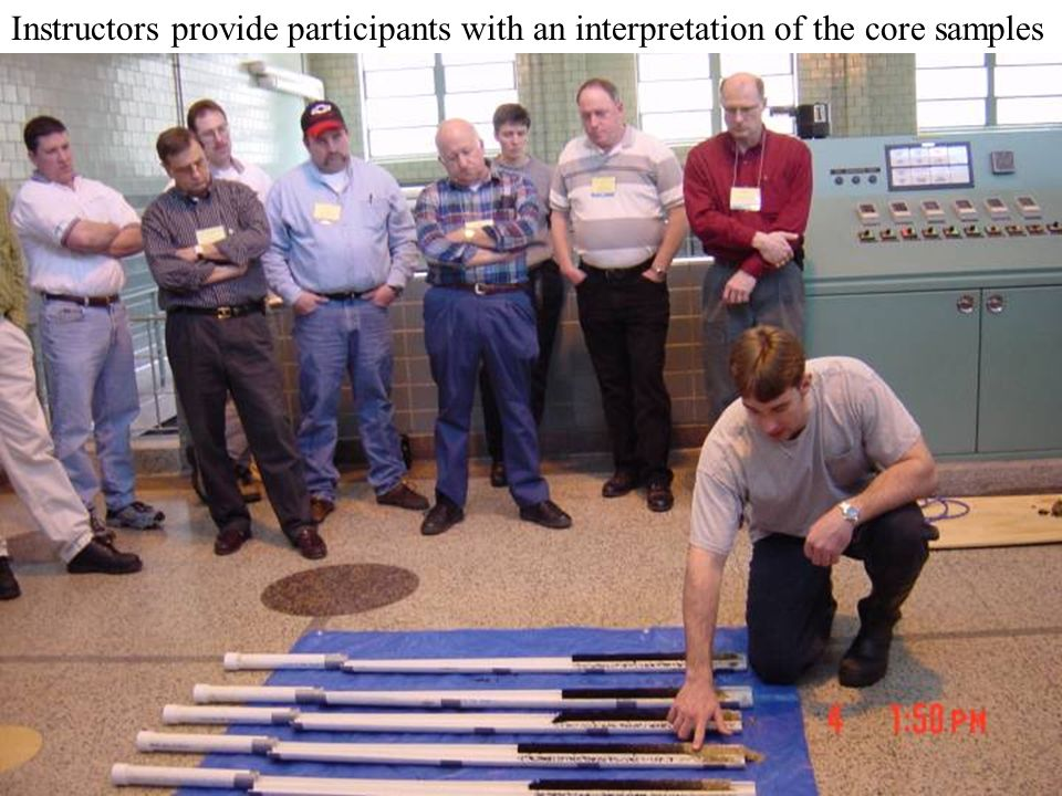 Instructors provide participants with an interpretation of the core samples