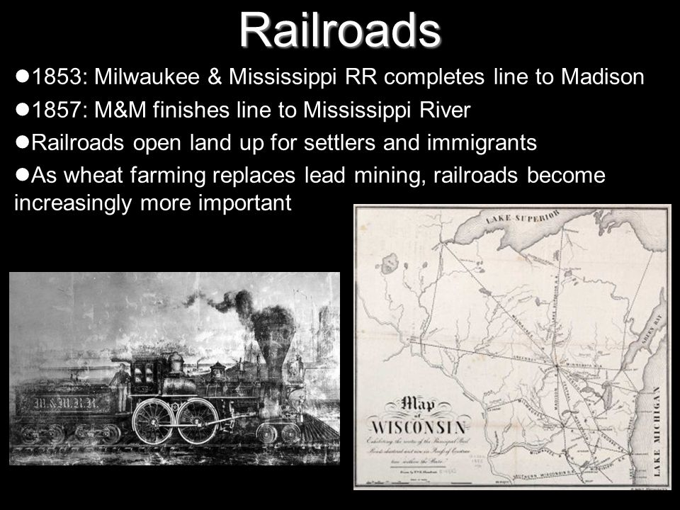 Railroads 1853: Milwaukee & Mississippi RR completes line to Madison