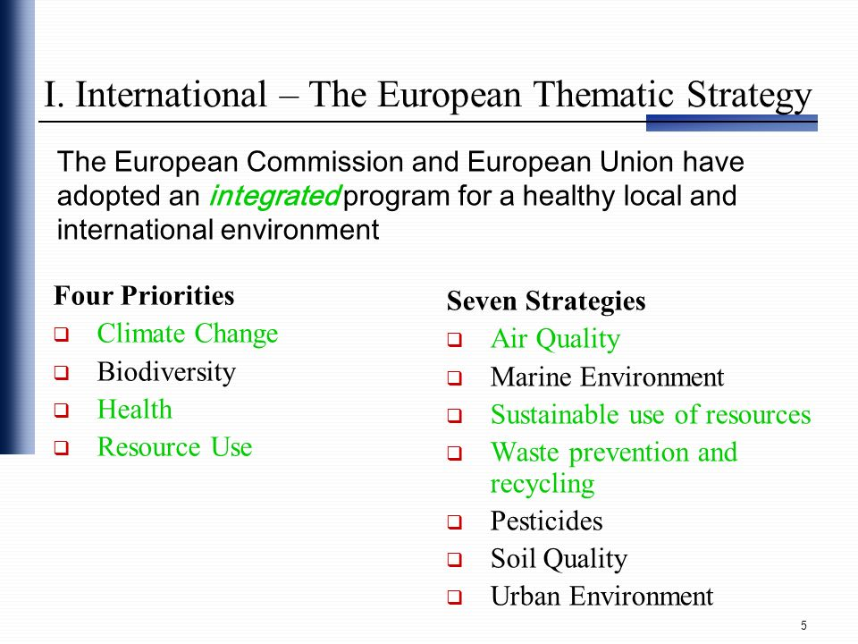 I. International – The European Thematic Strategy