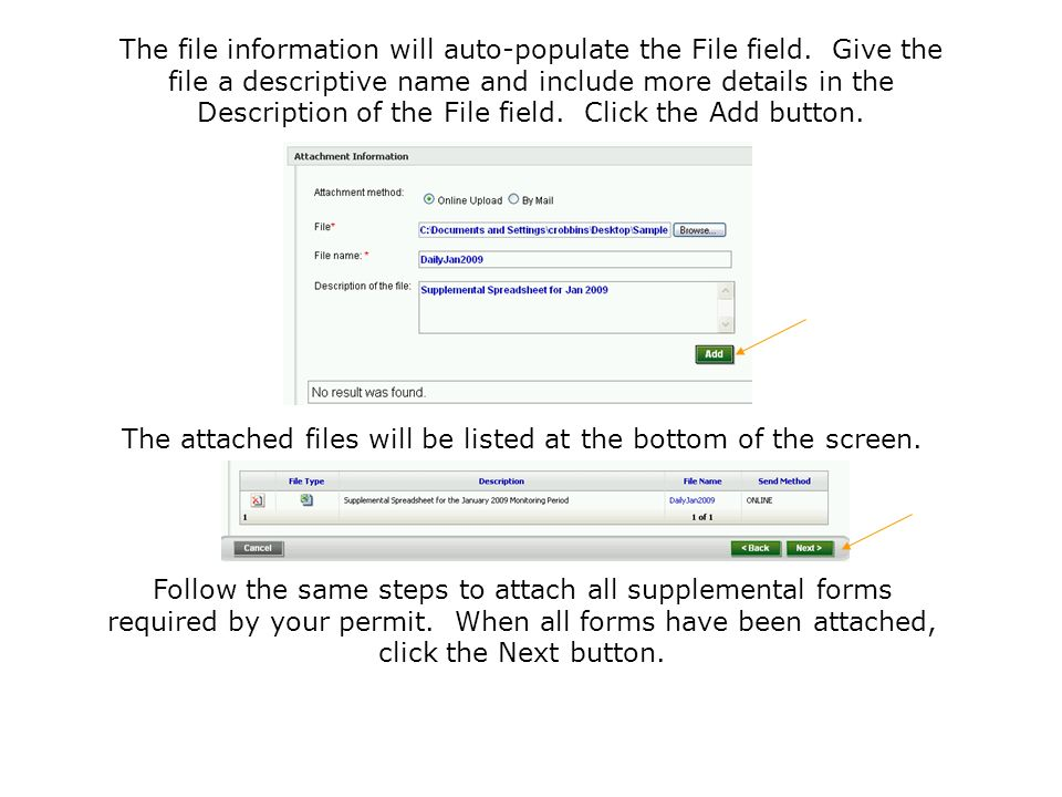 The attached files will be listed at the bottom of the screen.