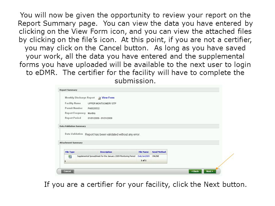 If you are a certifier for your facility, click the Next button.