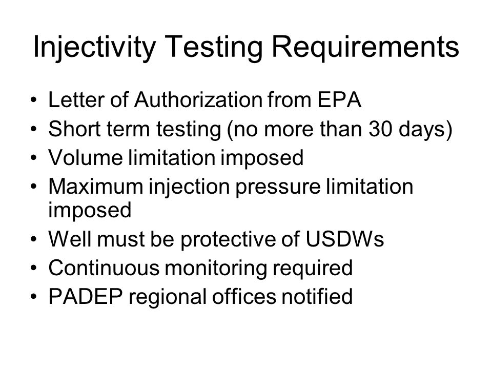 Injectivity Testing Requirements