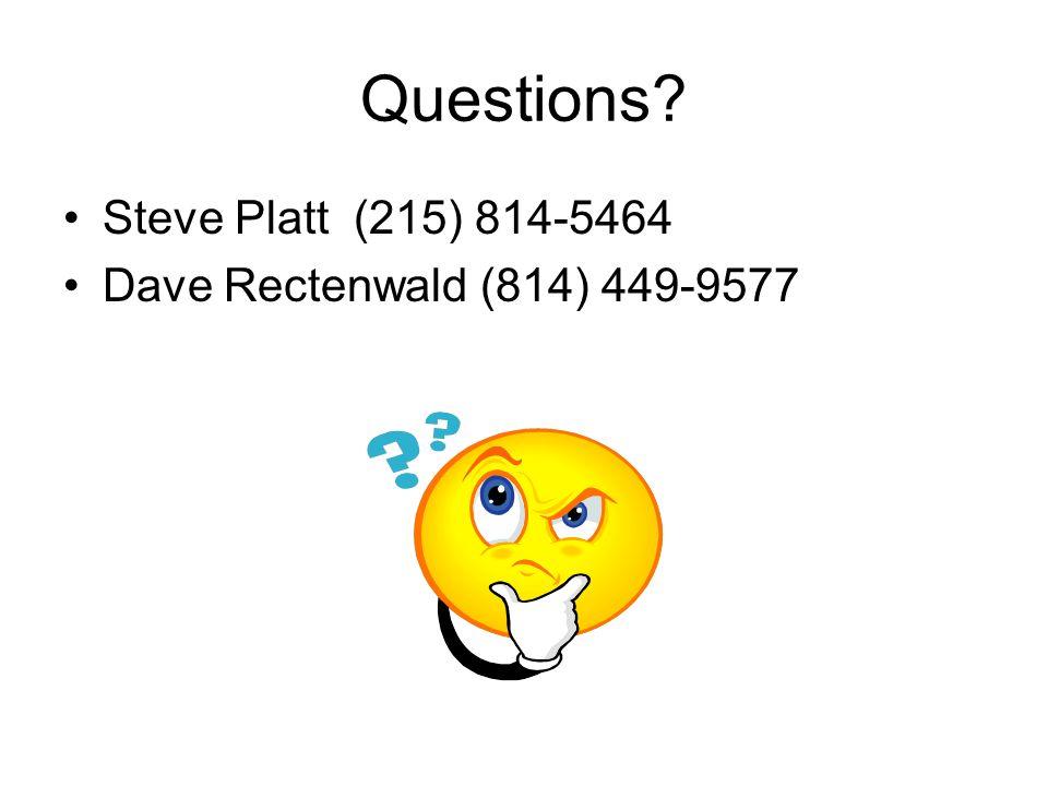 Questions Steve Platt (215) 814-5464 Dave Rectenwald (814) 449-9577