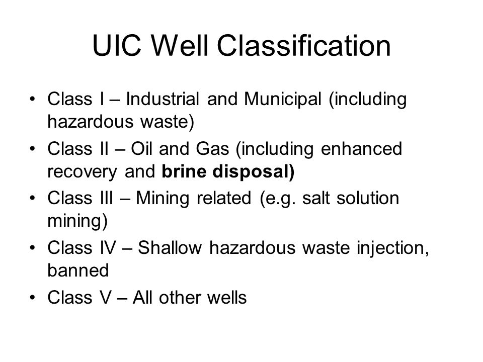UIC Well Classification