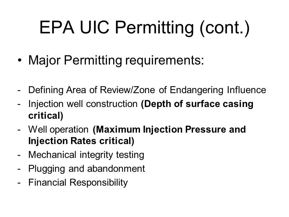 EPA UIC Permitting (cont.)