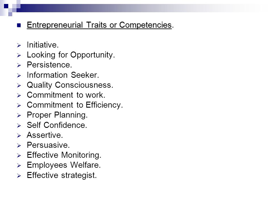 Entrepreneurial Traits or Competencies.