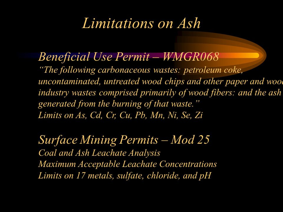 Limitations on Ash