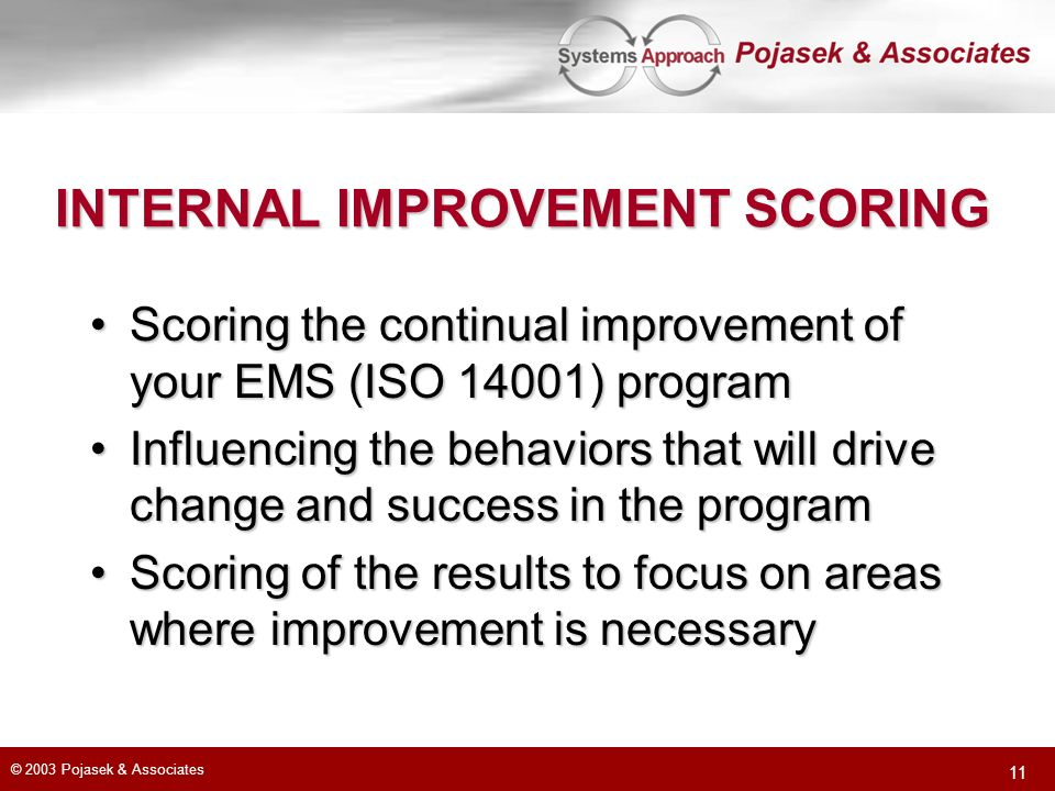 INTERNAL IMPROVEMENT SCORING