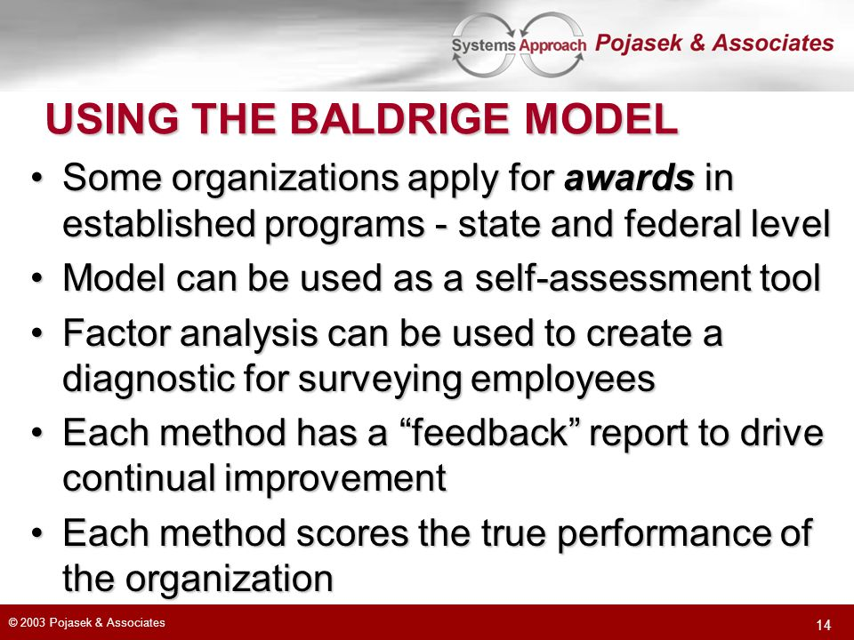 USING THE BALDRIGE MODEL