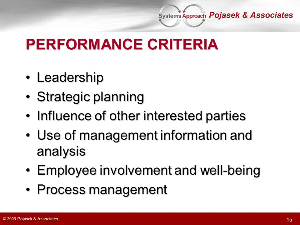PERFORMANCE CRITERIA Leadership Strategic planning