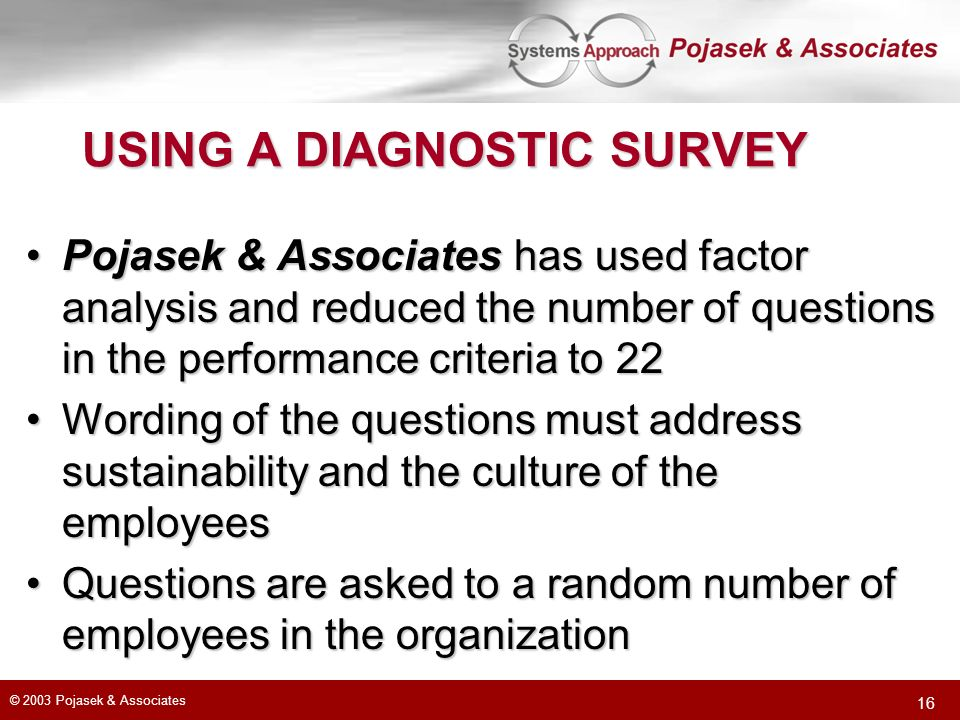USING A DIAGNOSTIC SURVEY