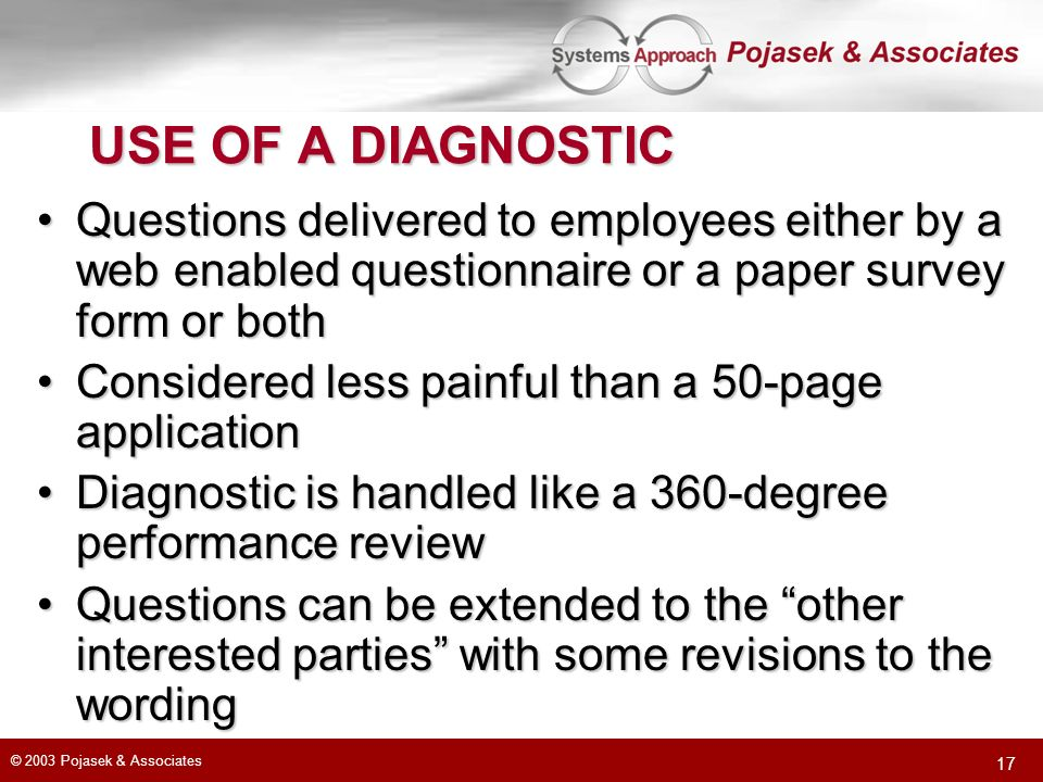 USE OF A DIAGNOSTIC Questions delivered to employees either by a web enabled questionnaire or a paper survey form or both.