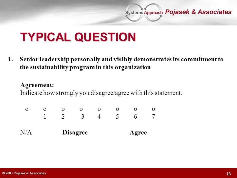 TYPICAL QUESTION Senior leadership personally and visibly demonstrates its commitment to. the sustainability program in this organization.