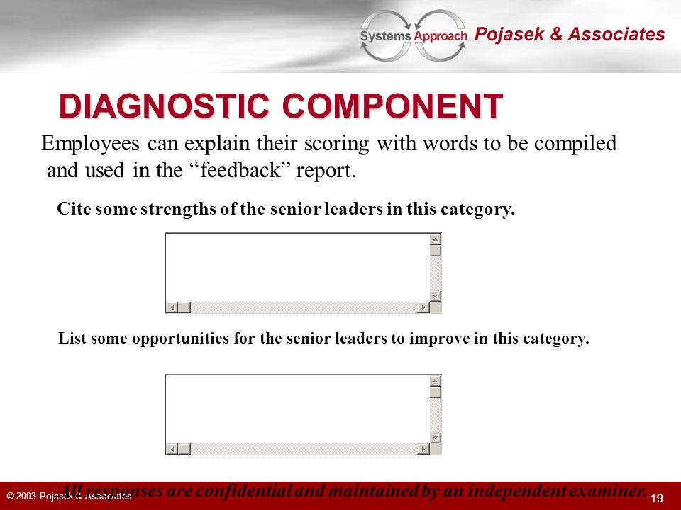 DIAGNOSTIC COMPONENT Employees can explain their scoring with words to be compiled. and used in the feedback report.