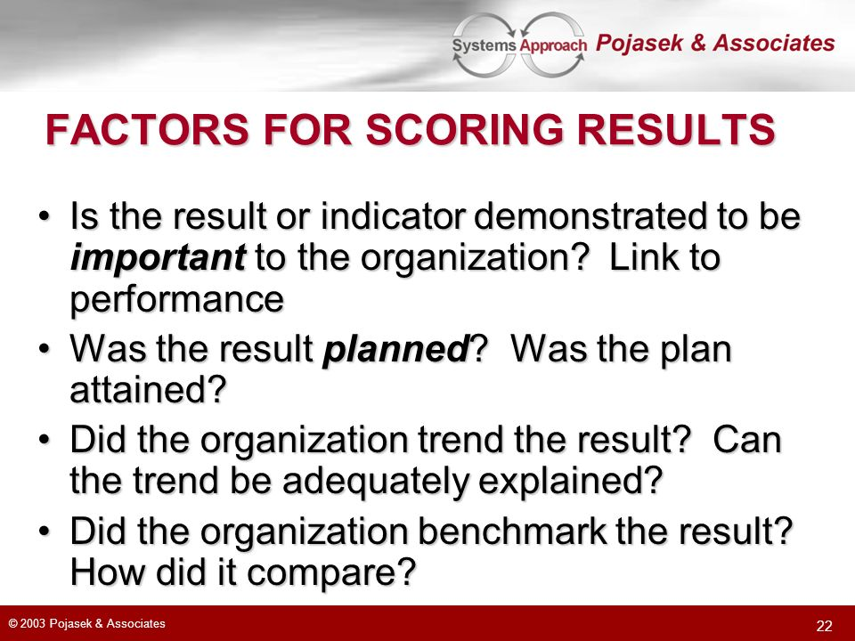 FACTORS FOR SCORING RESULTS