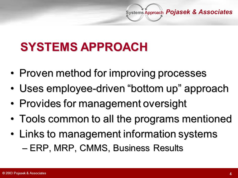 SYSTEMS APPROACH Proven method for improving processes