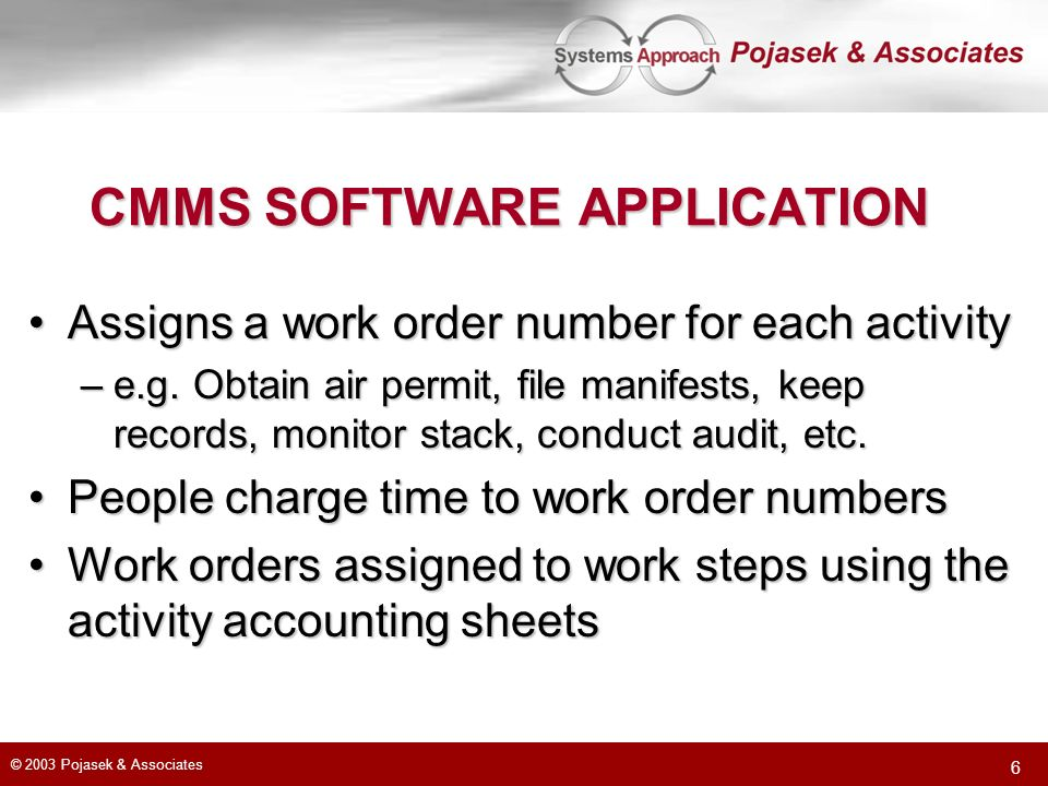 CMMS SOFTWARE APPLICATION