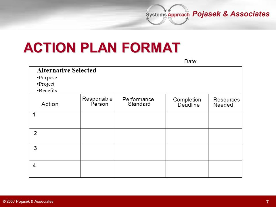 ACTION PLAN FORMAT Alternative Selected Action Date: Purpose Project