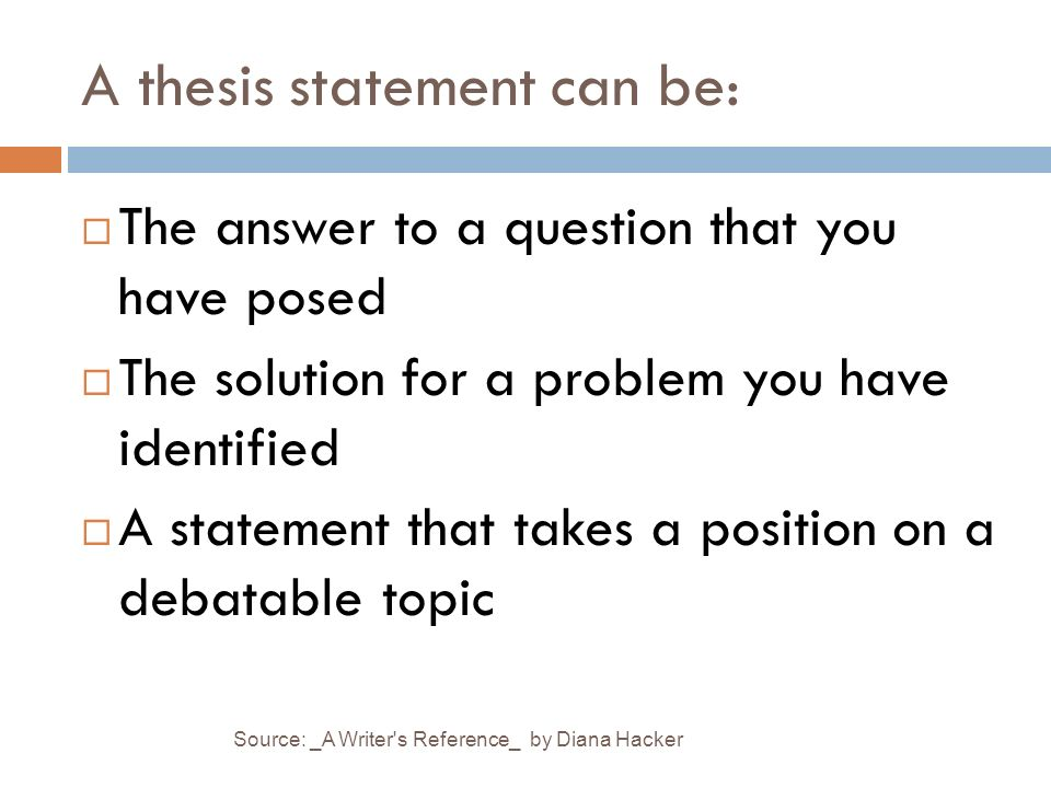 """thesis statement question and answer Pamphlet: how to write a thesis statement notice how the thesis answers the question, """"what should be done to reduce sugar consumption by children."""