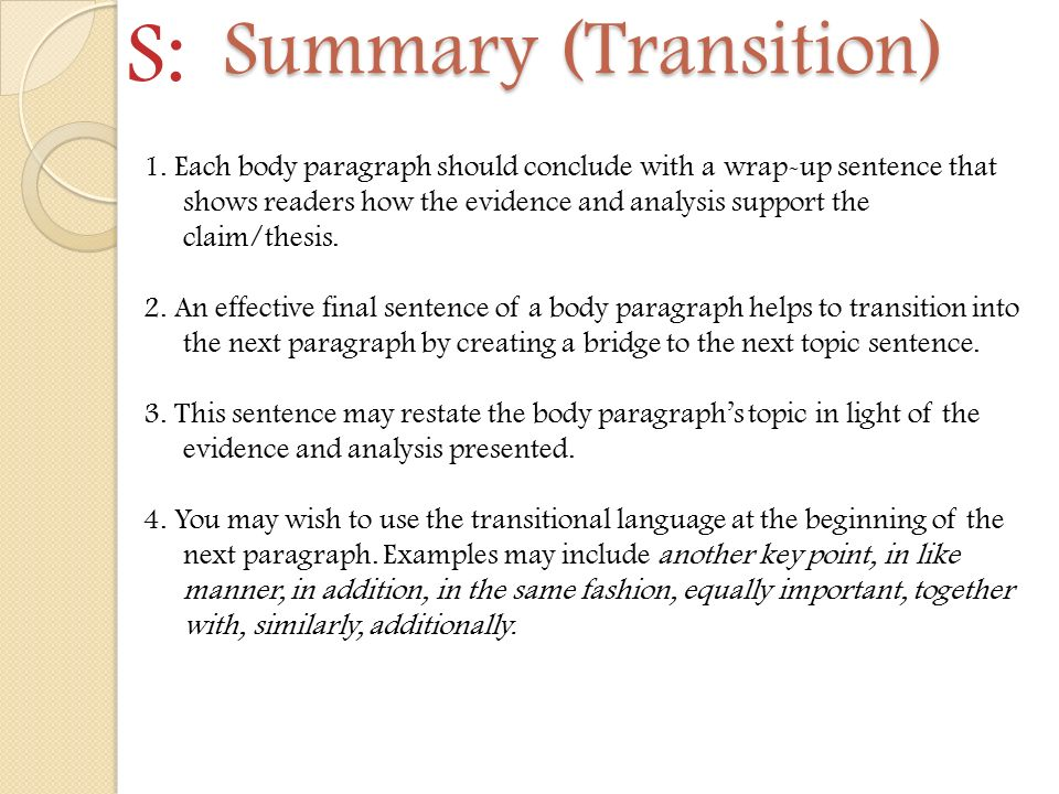 Guide to Transition Words and Sentence Samples