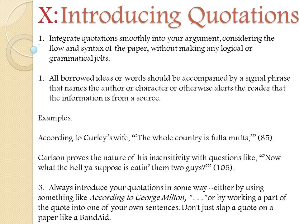 7 introducing quotations - Argument Essay Introduction Example