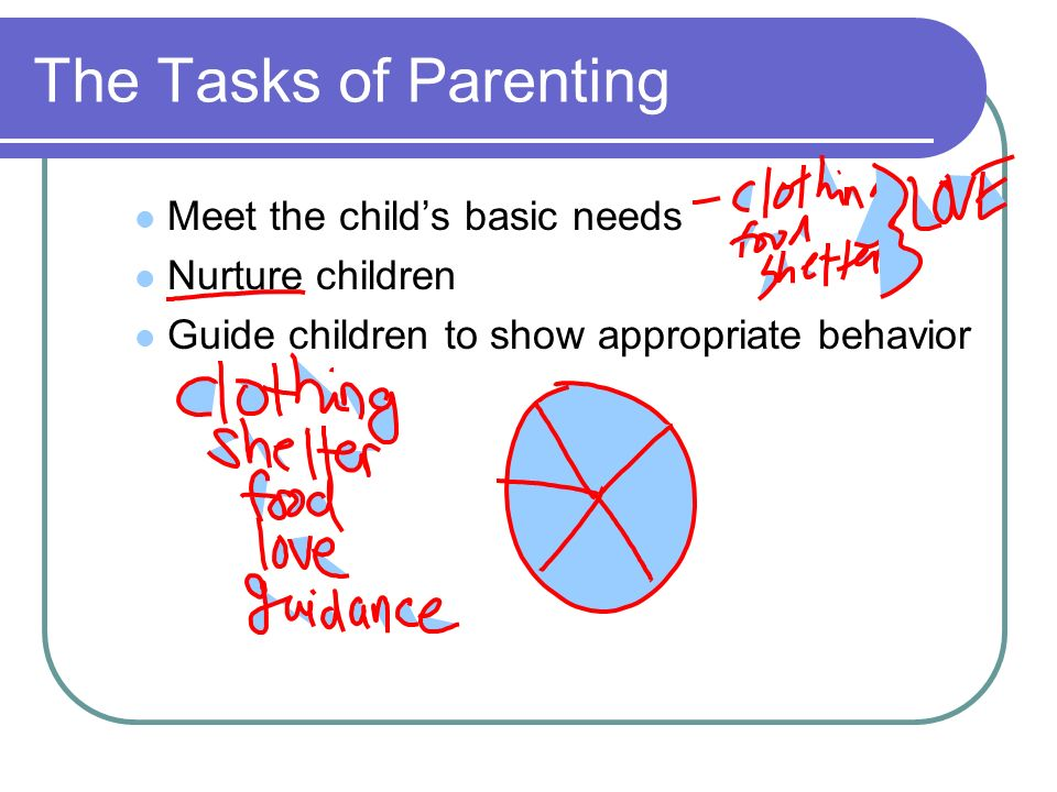 The Tasks of Parenting Meet the child's basic needs Nurture children
