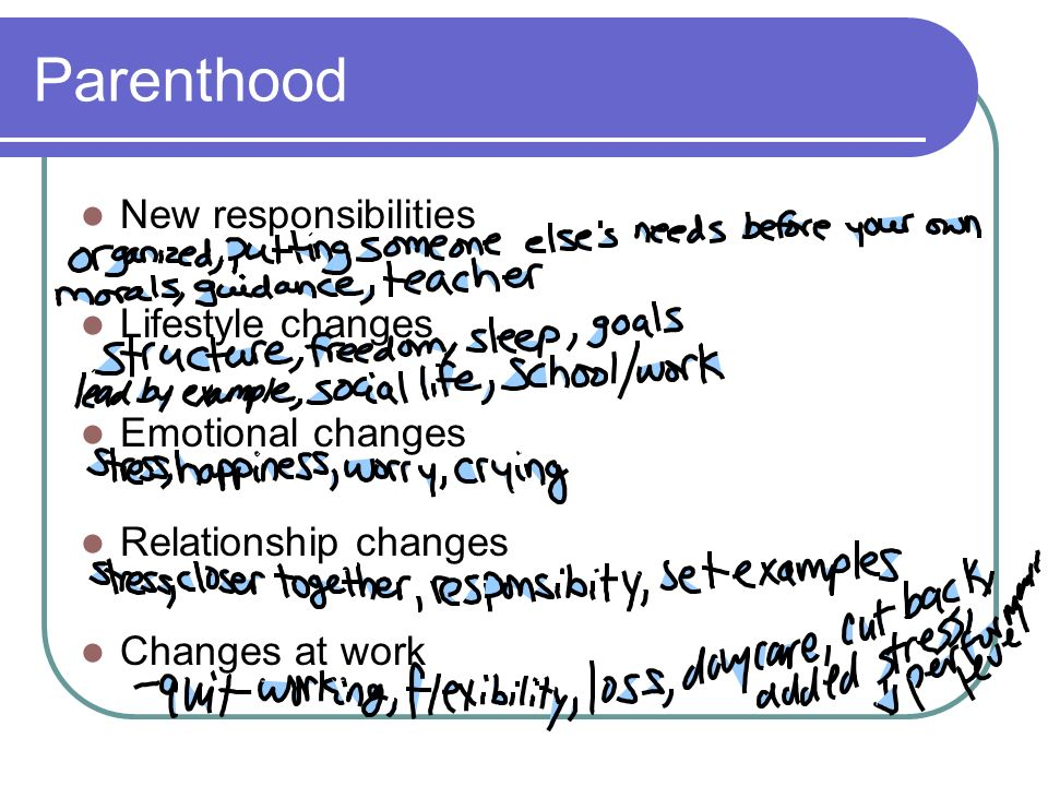 Parenthood New responsibilities Lifestyle changes Emotional changes