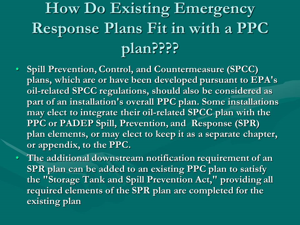 How Do Existing Emergency Response Plans Fit in with a PPC plan
