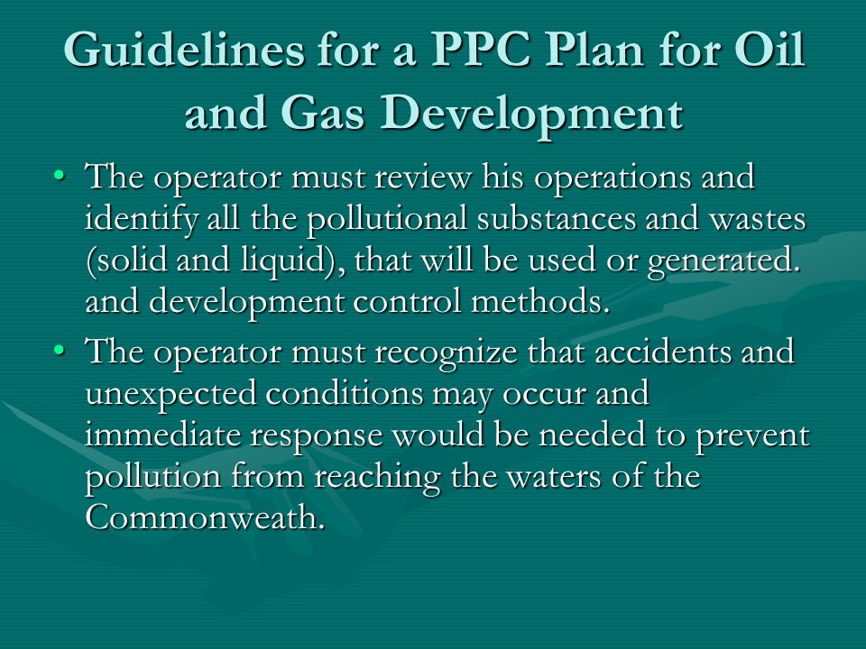 Guidelines for a PPC Plan for Oil and Gas Development