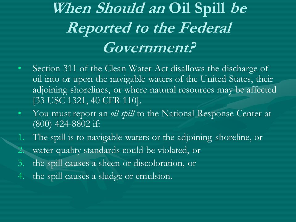 When Should an Oil Spill be Reported to the Federal Government