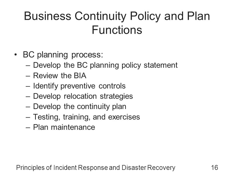 business continuity planning training