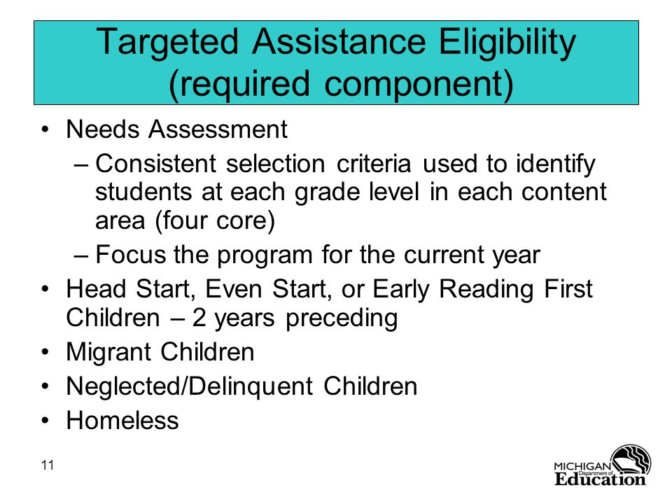 Targeted Assistance Eligibility (required component)