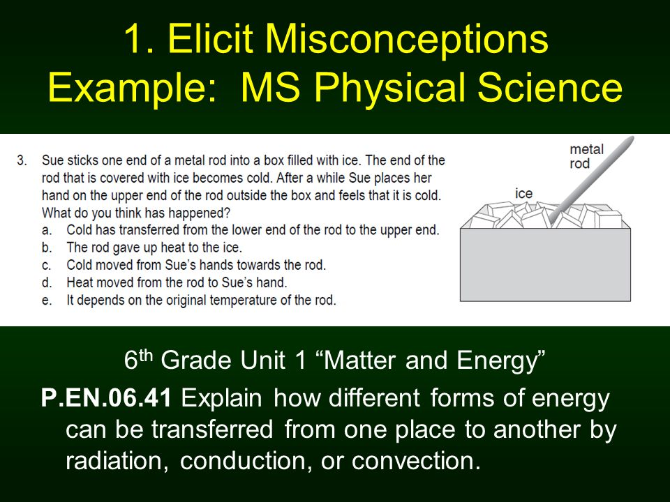 1. Elicit Misconceptions Example: MS Physical Science
