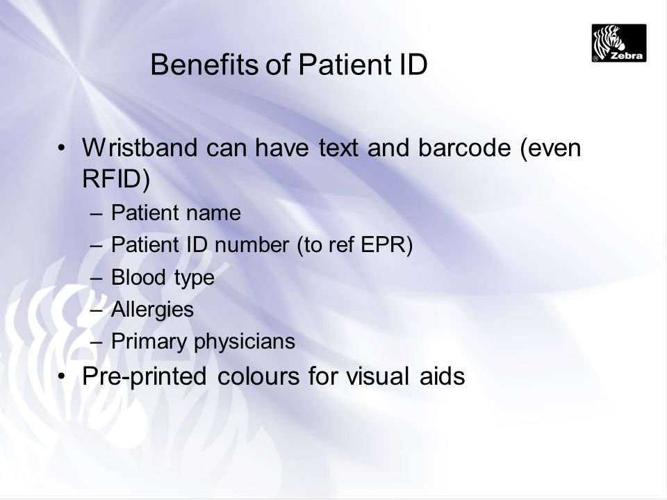 Benefits of Patient ID Wristband can have text and barcode (even RFID)