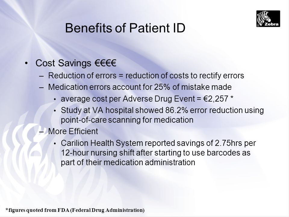 Benefits of Patient ID Cost Savings €€€€