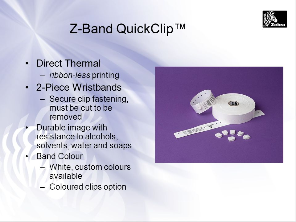 Z-Band QuickClip™ Direct Thermal 2-Piece Wristbands