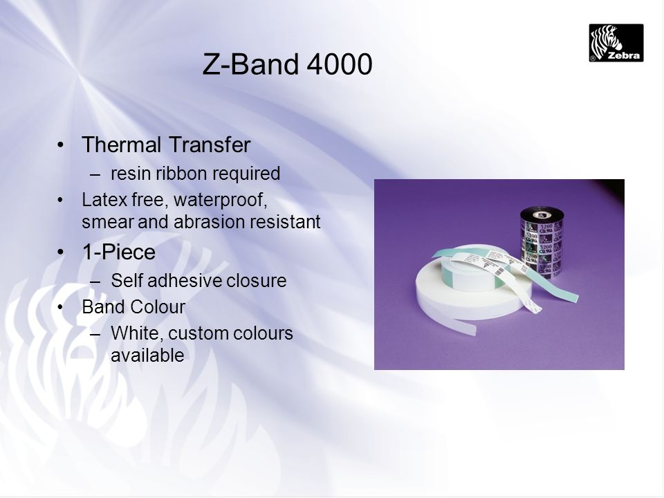 Z-Band 4000 Thermal Transfer 1-Piece resin ribbon required