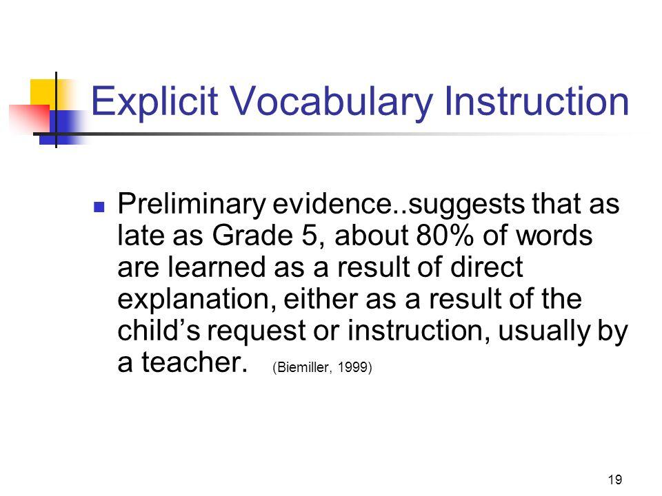 Explicit Vocabulary Instruction